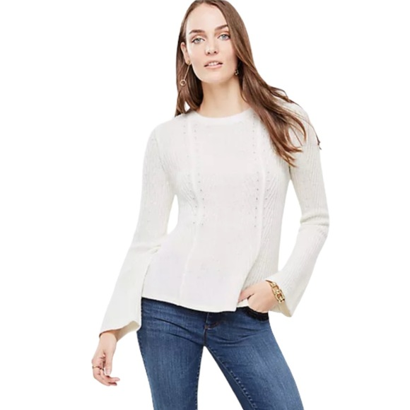 Ann Taylor ribbed peplum pullover sweater m